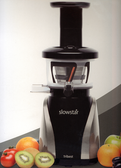 Tribest Slowstar SW-2020 Silver and Black 47 RPM vertical Upright Single Auger Juicer